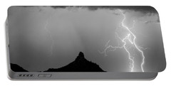 Lightning Thunderstorm At Pinnacle Peak Bw Portable Battery Charger