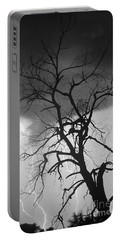 Lightning Tree Silhouette Portrait Bw Portable Battery Charger