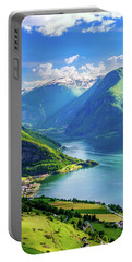 Lights And Shadows Of Sognefjord Portable Battery Charger