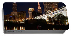 Lights In Cleveland Ohio Portable Battery Charger by Dale Kincaid