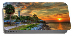 Portable Battery Charger featuring the photograph Lights Out Suns Up St Simons Island Lighthouse Sunrise Art by Reid Callaway