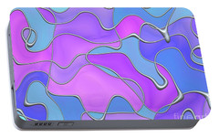 Portable Battery Charger featuring the digital art Lignes En Folie - 02a by Variance Collections