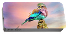 Lilac Breasted Roller At Sunset Portable Battery Charger