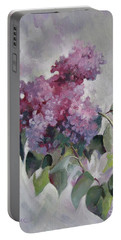Portable Battery Charger featuring the painting Lilac by Elena Oleniuc