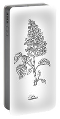 Lilac Flower Botanical Drawing Black And White Portable Battery Charger