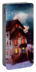 Portable Battery Charger featuring the painting Lilac Hill by Mo T