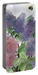 Lilacs And Bees Portable Battery Charger