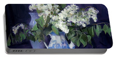 Lilacs And Blue Portable Battery Charger