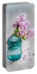 Lilacs In A Glass Jar Still Life Portable Battery Charger by Louise Kumpf