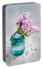 Portable Battery Charger featuring the photograph Lilacs In A Glass Jar Still Life by Louise Kumpf