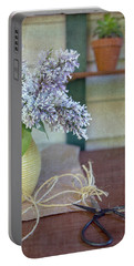 Lilacs In Yellow Vase Portable Battery Charger