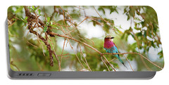 Lilc Breasted Roller Bird In Tree Portable Battery Charger