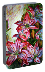 Portable Battery Charger featuring the painting Lilies by Harsh Malik
