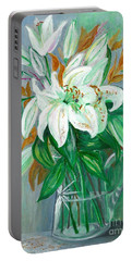 Lilies In A Glass Vase - Painting Portable Battery Charger by Veronica Rickard
