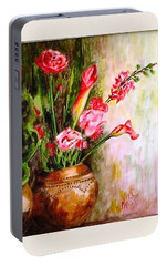 Portable Battery Charger featuring the painting Lilies In The Pots by Harsh Malik