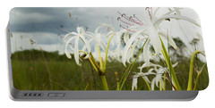 Lilies Thunder Portable Battery Charger by Christopher L Thomley