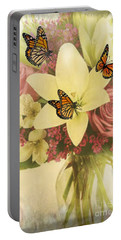 Lililies And Roses Portable Battery Charger by Maria Urso