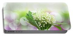 Lilly Of Valley Posy In Glass Portable Battery Charger