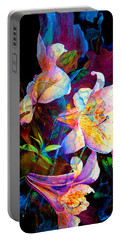 Portable Battery Charger featuring the painting Lily Fiesta Garden by Hanne Lore Koehler