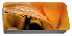 Lily In The Rain Portable Battery Charger by Thomas R Fletcher