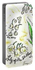 Portable Battery Charger featuring the painting Lily Of The Valley by Monique Faella