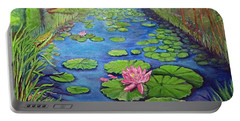 Portable Battery Charger featuring the painting Water Lily Canal by Ecinja Art Works