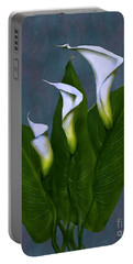 Portable Battery Charger featuring the painting White Calla Lilies by Peter Piatt