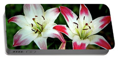 Portable Battery Charger featuring the photograph Lily Pink Reflections by LeeAnn McLaneGoetz McLaneGoetzStudioLLCcom