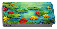 Portable Battery Charger featuring the painting Lily Pond by Teresa Wegrzyn
