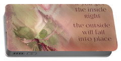 Portable Battery Charger featuring the digital art Lily Text - Et01b by Variance Collections