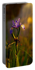 Purple Iris In Golden Sunset Portable Battery Charger