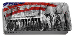 Portable Battery Charger featuring the painting Lincoln Abe by Gull G