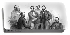 Lincoln And His Generals Black And White Portable Battery Charger