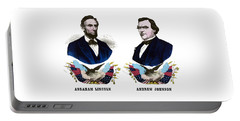 Lincoln And Johnson Campaign Poster Portable Battery Charger