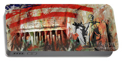 Portable Battery Charger featuring the painting Lincoln Memorial And Lincoln Statue by Gull G