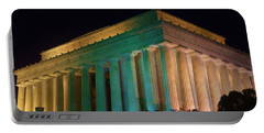 Lincoln Memorial At Night Portable Battery Charger