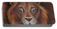 Portable Battery Charger featuring the painting Lion 2017 by Alga Washington