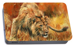 Portable Battery Charger featuring the painting Lion Alert by David Stribbling