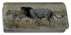Lion And Pregnant Lioness Walking Portable Battery Charger