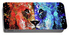 Portable Battery Charger featuring the painting Lion Art - Majesty - Sharon Cummings by Sharon Cummings