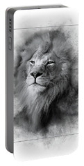 Lion Black White Portable Battery Charger