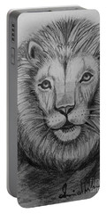 Portable Battery Charger featuring the painting Lion by Brindha Naveen