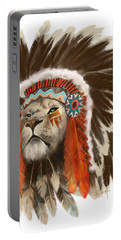 Portable Battery Charger featuring the painting Lion Chief by Sassan Filsoof