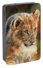 Portable Battery Charger featuring the painting Lion Cub Portrait by David Stribbling