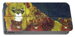 Portable Battery Charger featuring the painting Lion Family by Donald J Ryker III