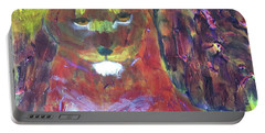 Portable Battery Charger featuring the painting Lion Family Part 5 by Donald J Ryker III
