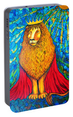 Portable Battery Charger featuring the painting Lion-king by Rae Chichilnitsky
