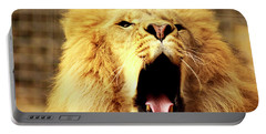 Lion King Yawning Portable Battery Charger by Ayasha Loya