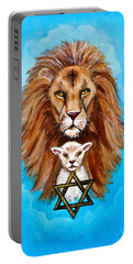 Portable Battery Charger featuring the painting Lion Lies Down With A Lamb by Bob and Nadine Johnston