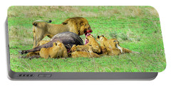 Lion Pride With Cape Buffalo Capture Portable Battery Charger